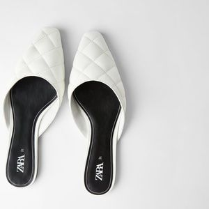 ZARA White Quilted Flats